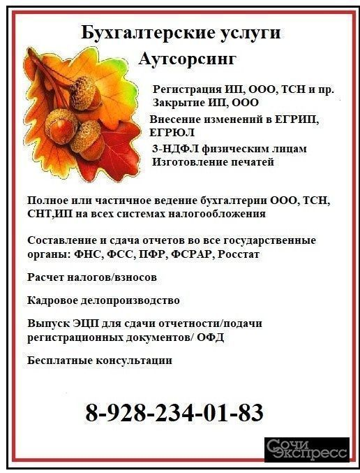 Бухгалтерское сопровождение, Регистрация ООО, ИП