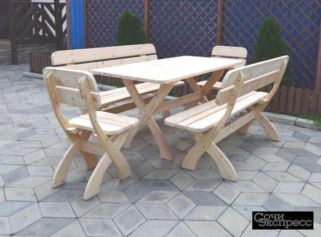 Садовая мебель из дерева Стол Стулья Скамейка