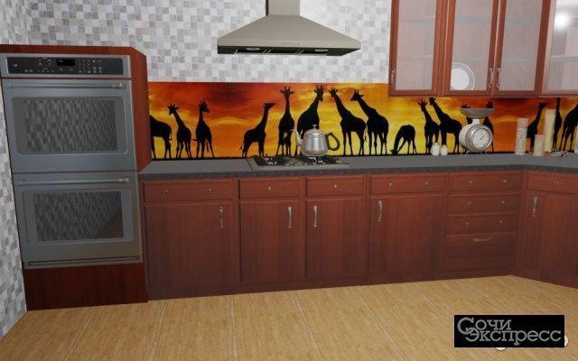 Кухонный фартук 610х2440х3мм жирафы
