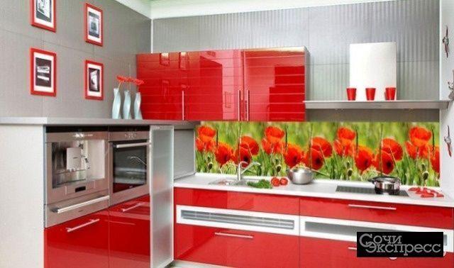 Кухонный фартук 695х2070х3мм маки
