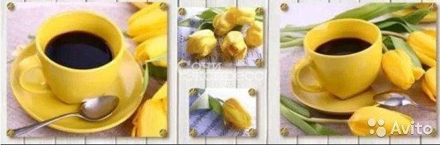 Кухонный фартук 695х2070х3мм жёлтые тюльпаны №1