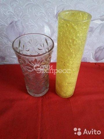 Вазы СССР стекло под хрусталь 20 см, пластик 27 см