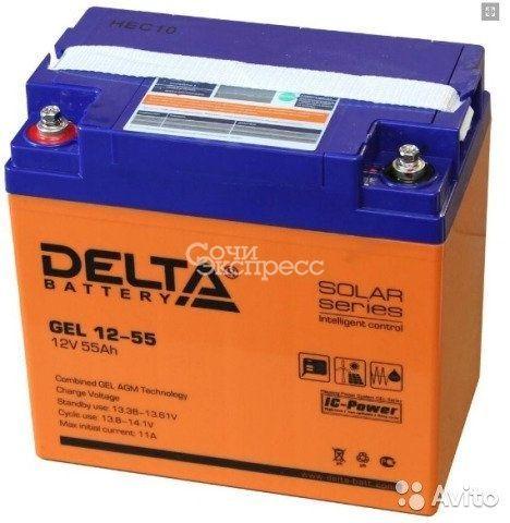 Гелевая аккумуляторная батарея Delta GEL 12-55
